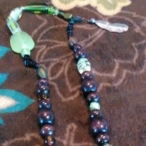 Jewelry - Green Glass Stones & Wood Beaded Crafted Necklace